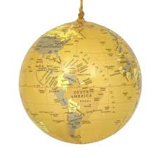 globe ornament antique yellow