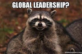 Leadership Meme - global leadership evil plotting raccoon make a meme