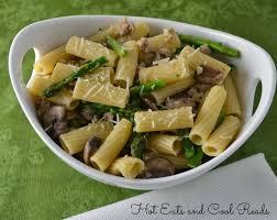 eats and cool reads sausage asparagus and mushroom rigatoni