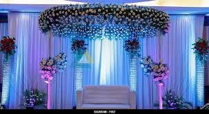 wedding reception stage decoration done at the residency towers