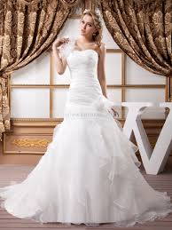 one shoulder luxury mermaid wedding dress with floral and feather