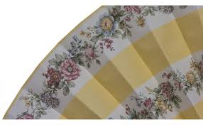 decorative fan yellow striped fan with flowers pleated decorative fans
