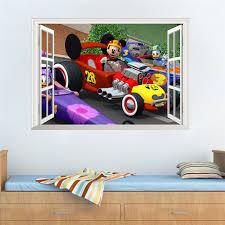 stickers voiture pour chambre garcon dessin animé de mickey de voiture stickers muraux pour enfants