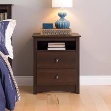 bedside stand prepac fremont 2 drawer tall night stand with open shelf