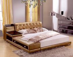 soft bed frame post modern real genuine leather bed with storage box and sideboard