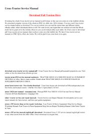 ursus tractor service manual