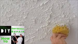 use a sponge match knockdown texture on a ceiling repair