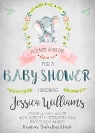 elephant baby shower invitation invitations invite invites rustic