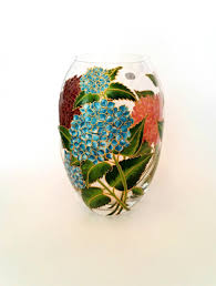 Crystal Vases For Centerpieces Anniversary Gift For Her Hand Painted Flower Vase Wedding Gift