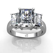 radiant cut engagement rings 14kt white gold three radiant cut ring union