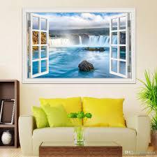 3d window stickers amazing waterfall scenery landscape wallpaper