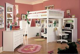 bunk beds for girls rooms white loft bunk bed full size with desk and wooden swivel chair in