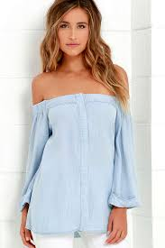 light blue off the shoulder top cute off the shoulder top light blue top chambray top 66 00