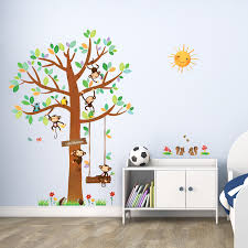 large tree and animals in woodland wall stickers 5 little monkeys tree wall stickers