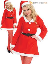 ladies miss santa costume womens father christmas xmas