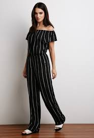 black and white jumpsuit forever 21 striped the shoulder jumpsuit where to buy how