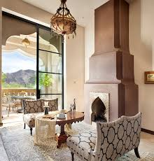 furniture cozy morocan room with white fireplace near brown