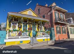 old colonial houses on streets french stock photo 381071605