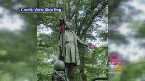 christopher columbus statue vandalized youtube