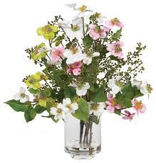 nearly dogwood silk flower arrangement contemporary