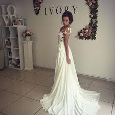 elegant lace appliques 2017 wedding dress long chiffon split 2018