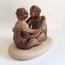 handmade monkey wedding cake topper