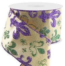 mardi gras ribbon wired mardi gras ribbon 2 5 metallic gold ribbon with purple