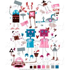 clipart of valentines day doodle robots by bnp design studio 3