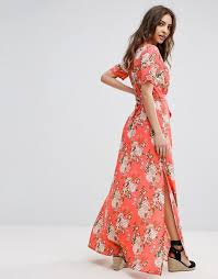 boohoo boohoo floral print tie waist wrap maxi dress
