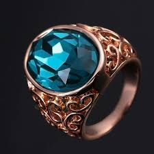 big crystal rings images Ajojewel luxury gold color hollow big crystal blue stone ring men jpg