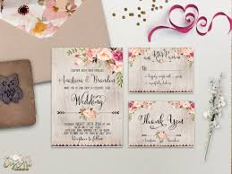 floral rustic wedding invitation printable boho chic wedding