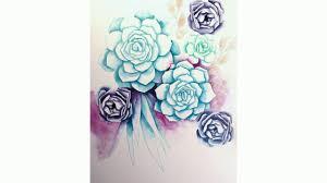 succulent watercolor diy youtube