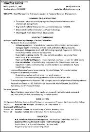 Sample Resume For Hotel Manager by Sample Resume For Hotel Management Trainee Hospitality Management