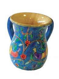 netilat yadayim cup birds large painted wooden netilat yadayim cup by yair emanuel