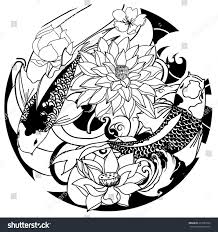 hand drawn outline koi fish tattoo stock vector 615281063