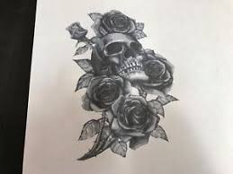 multilayer airbrush stencil skull and roses 2 ebay