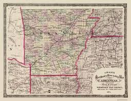 Ohio Railroad Map by Old State Map Arkansas Cram 1875