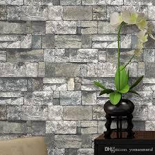 pvc 3d wallpaper effect imitation stone brick wall wallpaper retro
