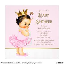 Baby Shower Card Invitations Princess Ballerina Tutu Pink Gold Baby Shower Invitation Pink