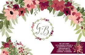 burgundy flowers blush burgundy flowers greenery illustrations creative market