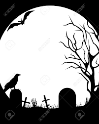 halloween illustration with moon in background royalty free