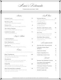 the elegant fine dining menu features a border tipped in