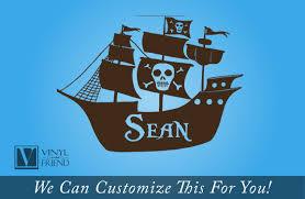 custom name pirate ship with skull and cross bones flag a