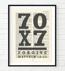 Scripture Wall Art Home Decor by Vintage Bible Verse Scripture Forgive 70 X 7 Seventy Times