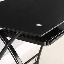 Black Glass Computer Desks For Home Walker Edison L Shaped Black Glass Computer Desk Home