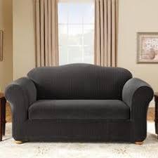 Black Loveseat Slipcover Heather Stripe Stretch Sofa Slipcover Green Heather O U0027rourke
