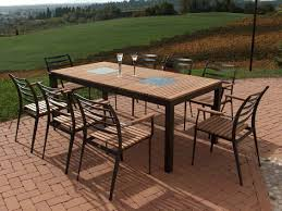 patio table set with chairs in aluminium teak and granite