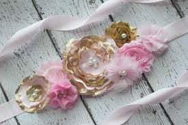 baby shower sash flower sash pink gold sash 2 flower belt maternity sash
