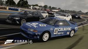 nissan skyline le mans forza motorsport 6 calsonic skyline r32 at le mans bugatti youtube