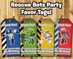 transformer rescue bots party supplies rescue bots favor tags rescue bots birthday instbirthday